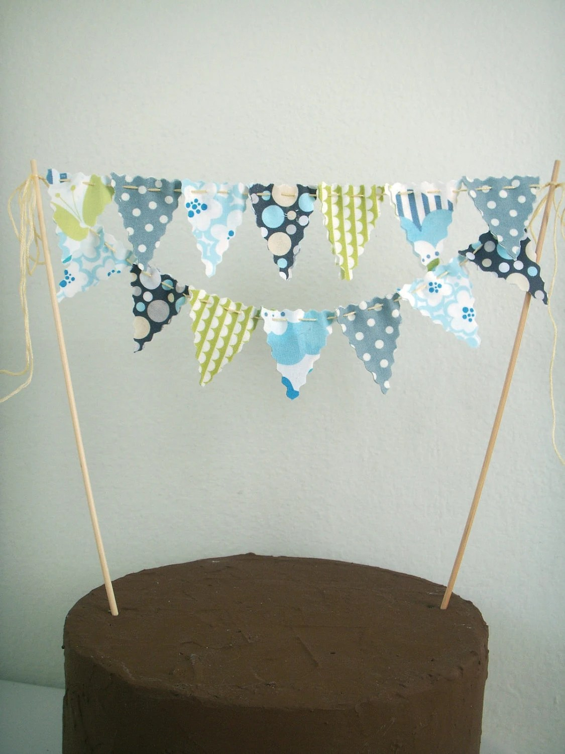 Items Similar To Cake Bunting Cake Topper Grey Blue Lime