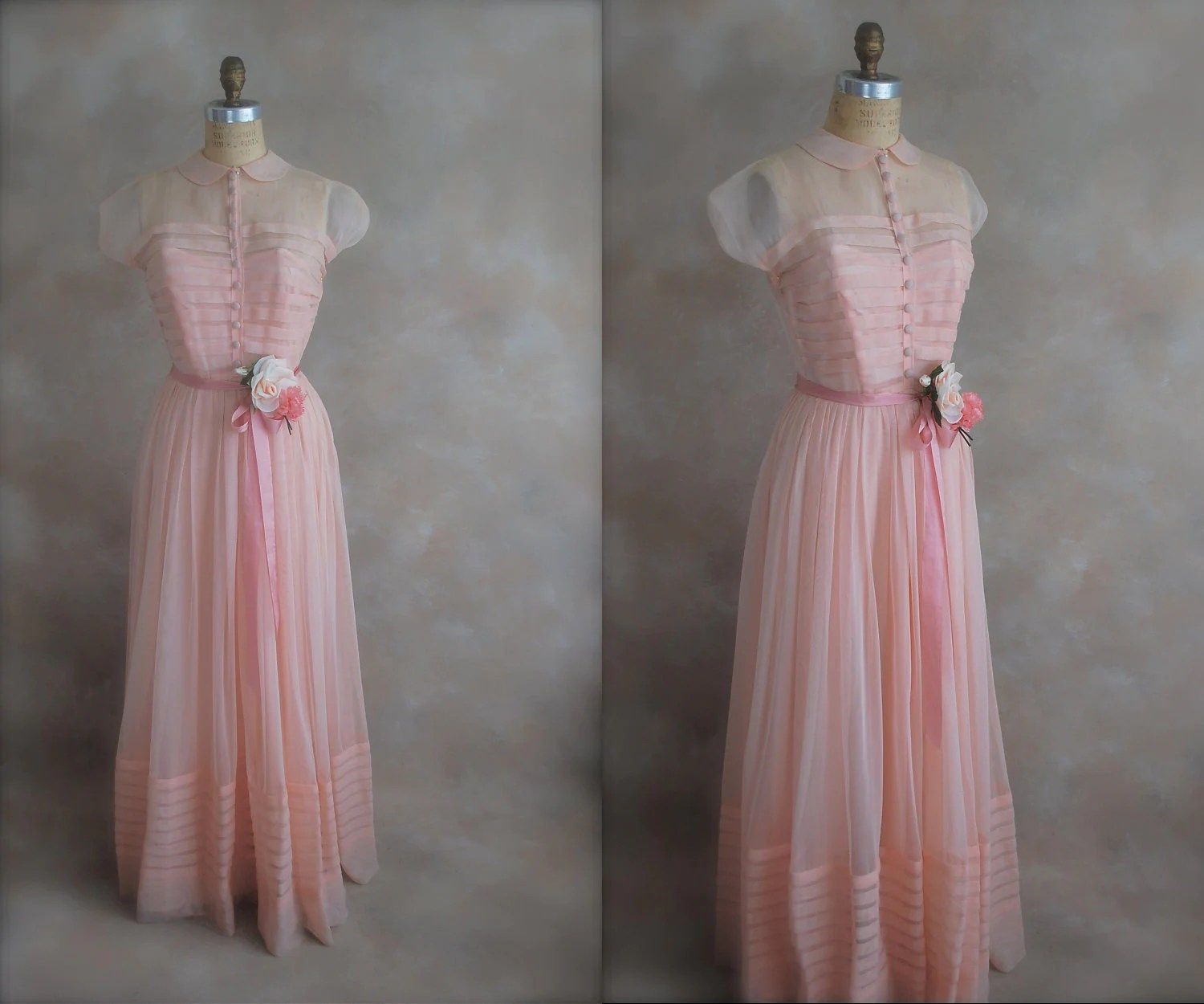 Vintage 1930s Prom Dress Deadstock Debutante Gown