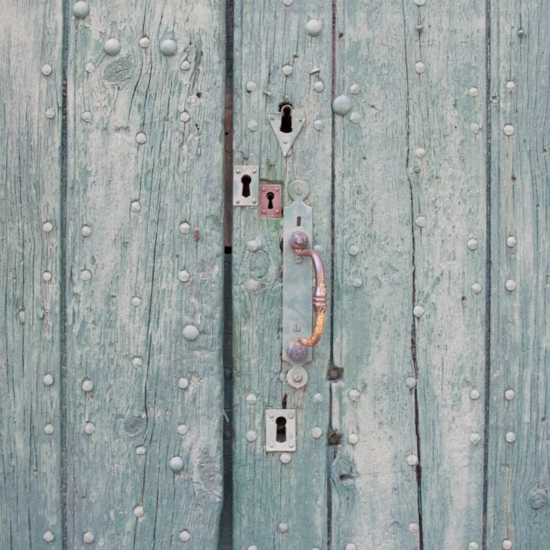Rustic door photography, Multiple locks Fine art print, Green, French country house home decor, 8x8, Wall art poster, still life photography - magalerie