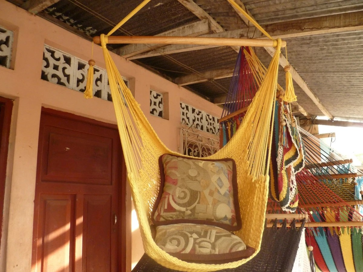 Yellow Sitting Hammock Hanging Chair Natural Cotton And Wood