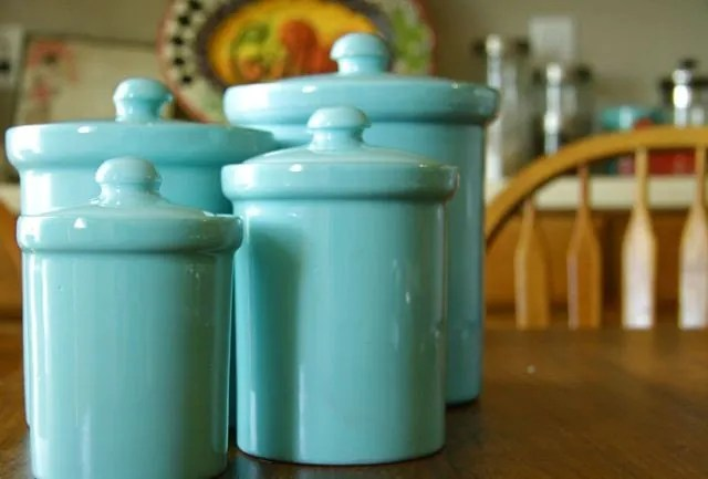 Teal Ceramic Canisters 4