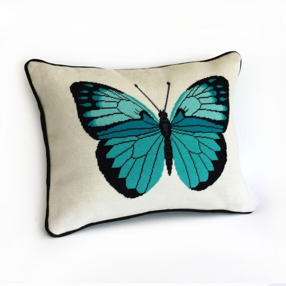 turquoise butterfly modern needlepoint pattern - diy