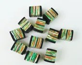 FNS Friday Night Special Handmade Polymer Clay Beads Green Yellow Orange Cube Square Black Tangerine Pumpkin Carrot Set of 11 eleven - TotallyToTheT
