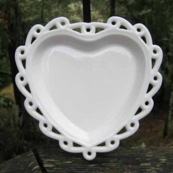 Milk Glass Heart Shaped Dish With Open Lace Edge By