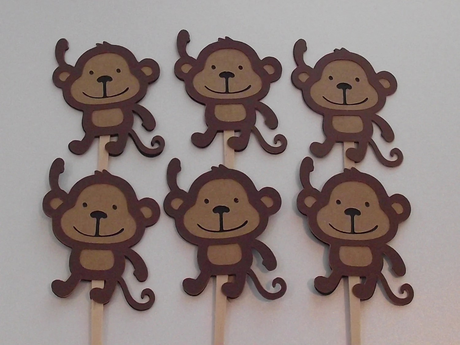 Monkey Cupcake Toppers Monkey Themed Safari Party Jungle