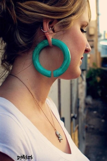 Faux Malachite Hoops Earrings For Stretched Lobes Gauges