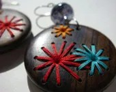 FOURTH OF JULY---Retro Style Hand Embroidered Wood Earrings 70s Fireworks Flowers - IbbyAndRufus