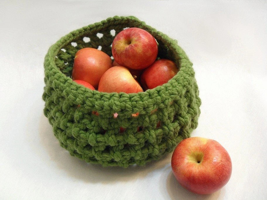 Crochet Fruit Basket in Olive Green - AddSomeStitches