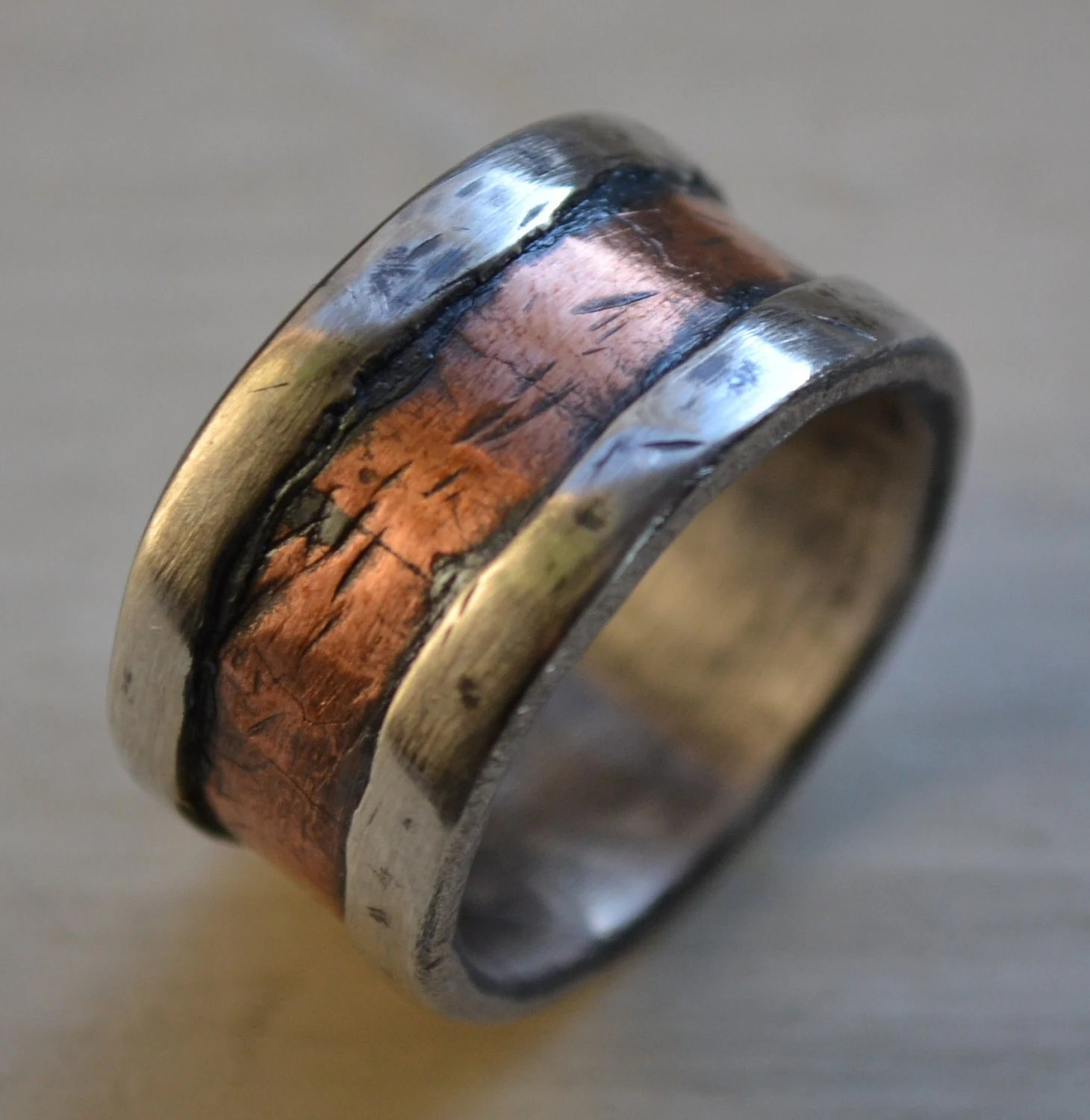 Reserved For Michelle Mens Wedding Band Rustic Fine Silver