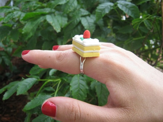 Strawberry and Vanilla Petit Four Cake Eraser Ring - PinkFrog4U