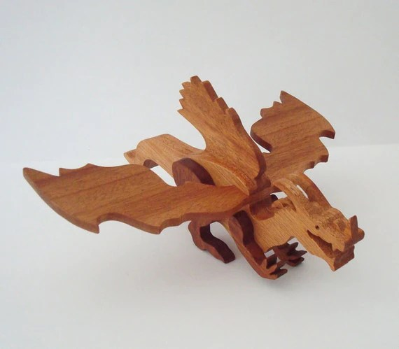 Dragon Toy Frost Norse Waldorf Wood Mahogany by OohLookItsARabbit
