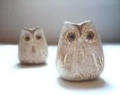 2 Beige Rustic Owls - Decoration - Home decor - Wedding - Handmade by oenopia - oenopia
