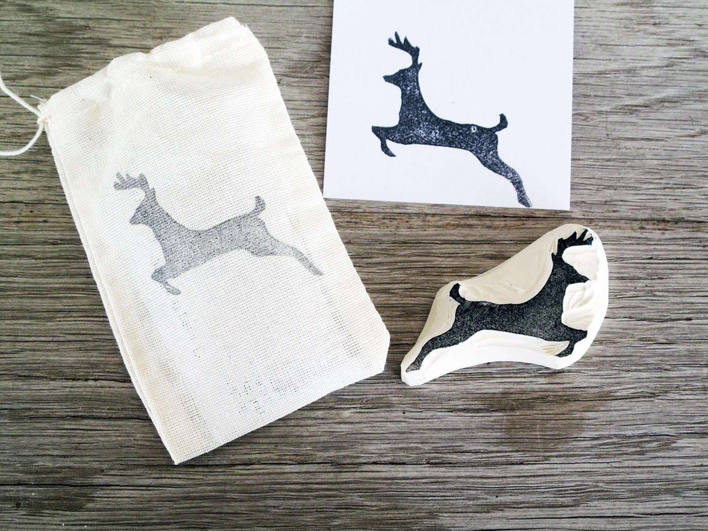 Reindeer Hand-carved Rubber Stamp . Christmas . Unmounted . Ready to Ship - LetterKay