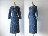 vintage skirt suit / two-piece rayon suit