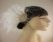 Rhinestone Bridal Feather Fascinator, White Feather Fascinator, Bridal Headpiece, Rhinestone Hair clip, Wedding Veil - Hollywood Style