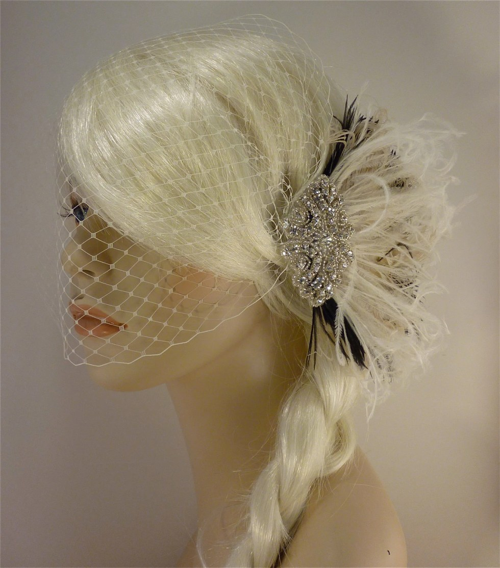 Wedding Hair Accessory, Fascinator, Rhinestone Hair clip, Feather Fascinator, Bridal Veil, Wedding Veil, Ivory and Black
