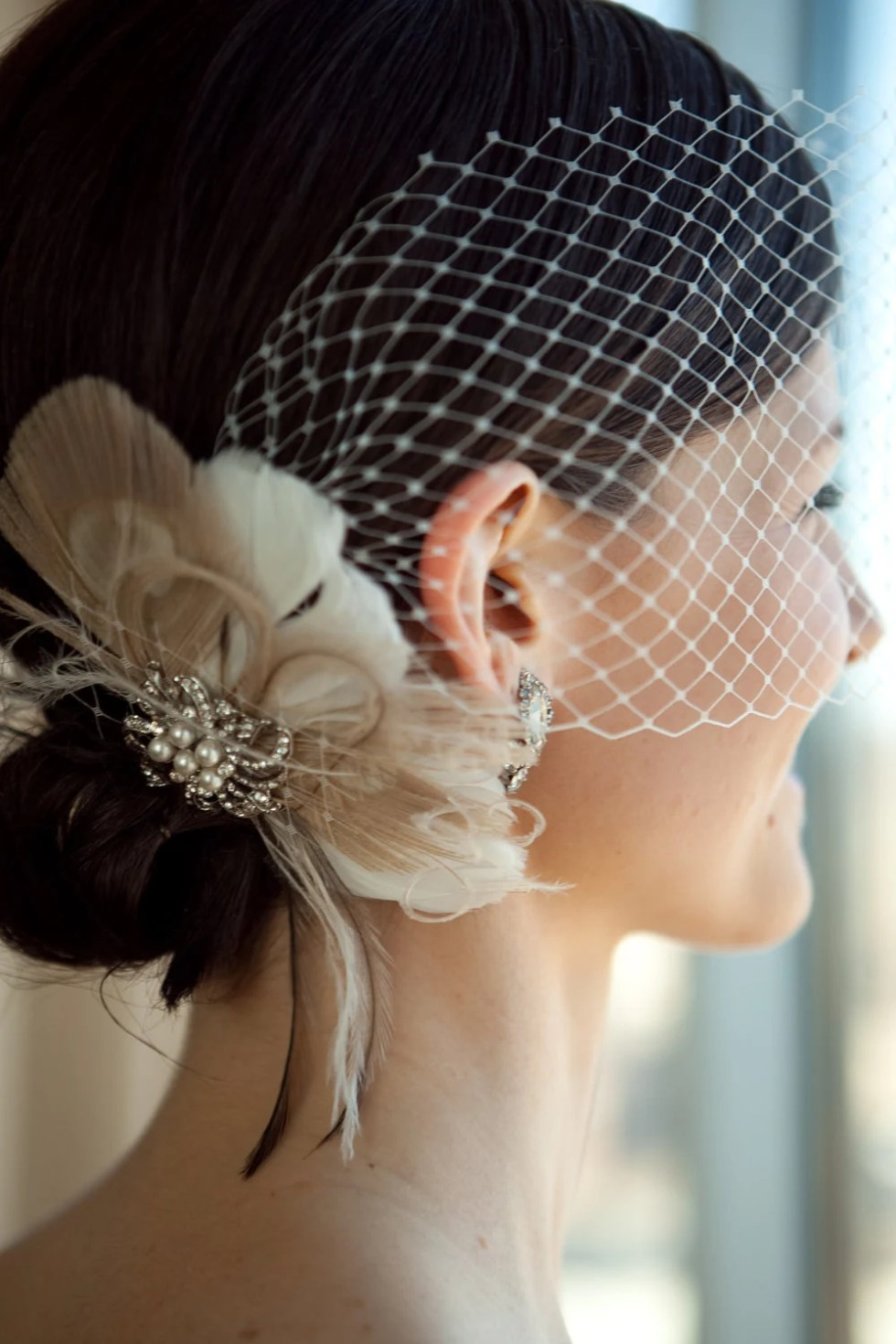 Fascinator, Wedding Head Piece, Bridal Hair Clip, Feather Hair Clip, Great Gatsby Headpiece, Wedding Hair Clip, Wedding Veil