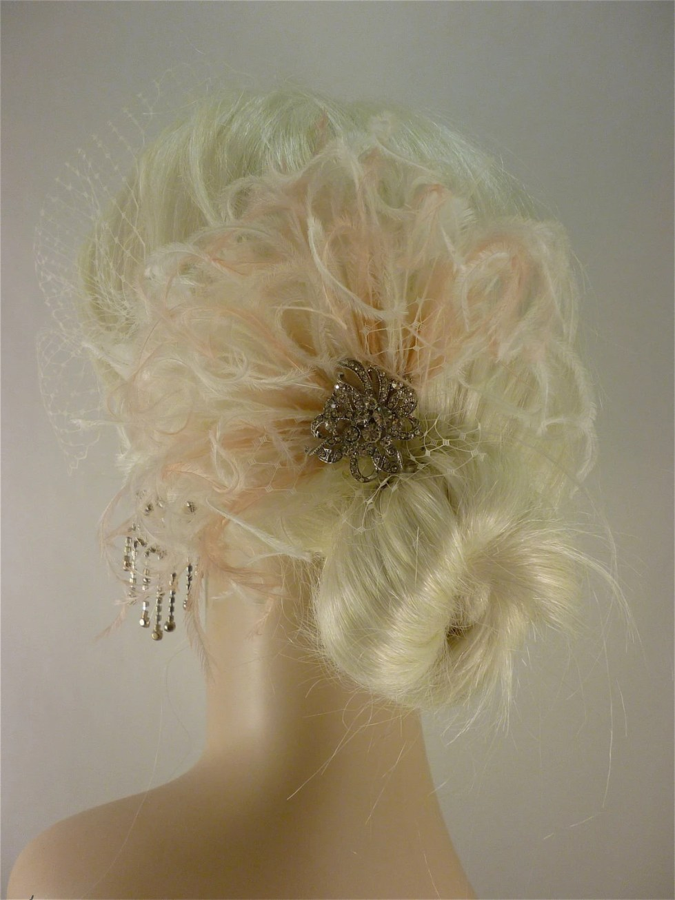 Bridal Feather Fascinator with Brooch, Bridal Fascinator, Feather Fascinator, Fascinator,  Ivory and Blush
