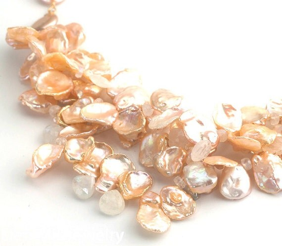 Multi-Strand Keshi Pearl Moonstone Necklace Gold Accents - Elenmir