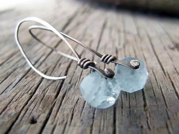 Aquamarine silver rivet earrings