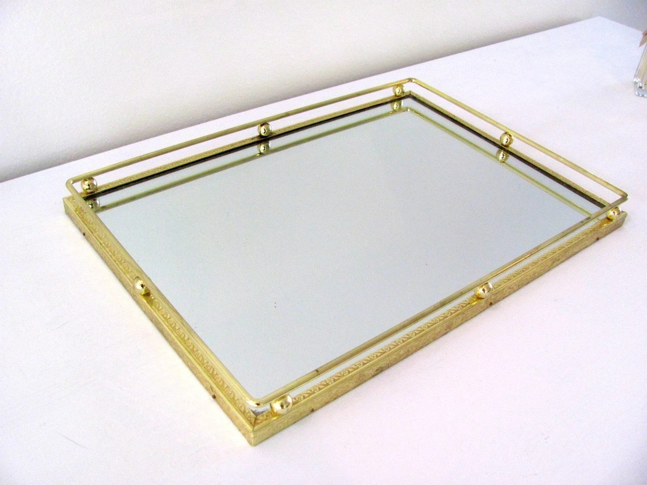 Vintage Mirrored Tray Vanity Tray With Gold Floral Frame