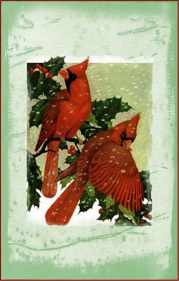 Christmas card Cardinals -  5x7 - snow - greeting