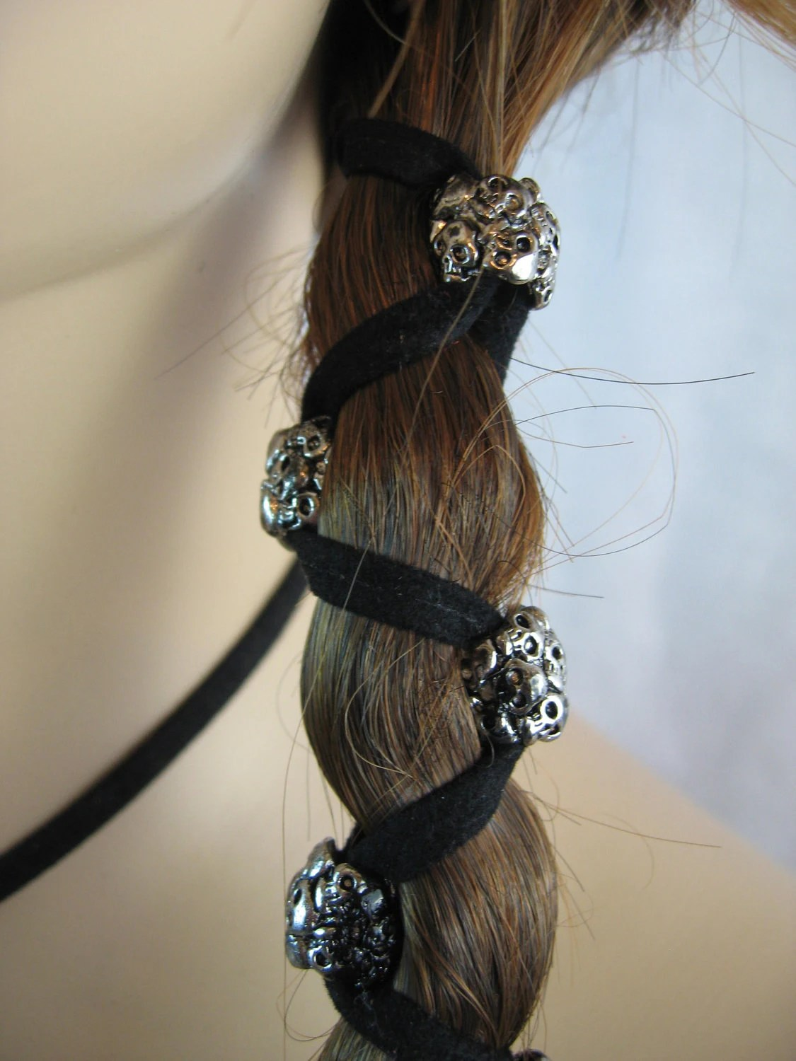 Leather Hair Wrap HeadBand With Skull Beads Biker By