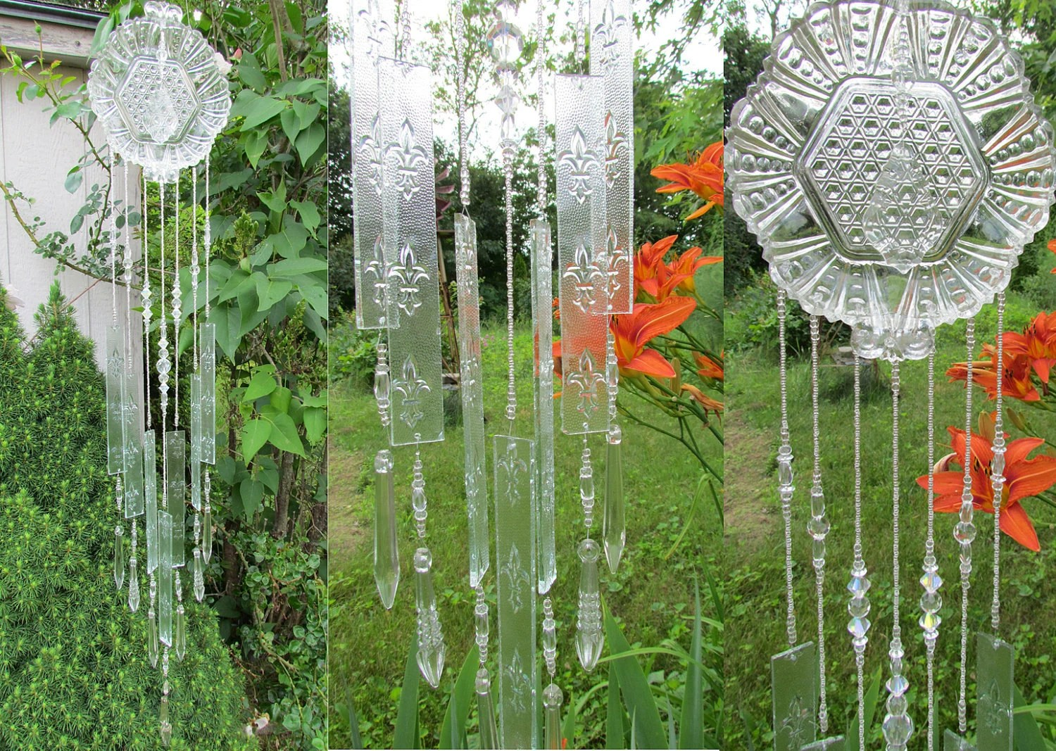 Glass Wind Chime Handmade Form Stained Glass And Crystals