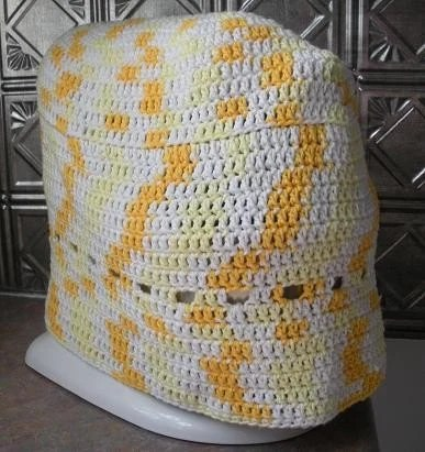 Hand Crocheted Stand Mixer Cover Yellow White Cotton