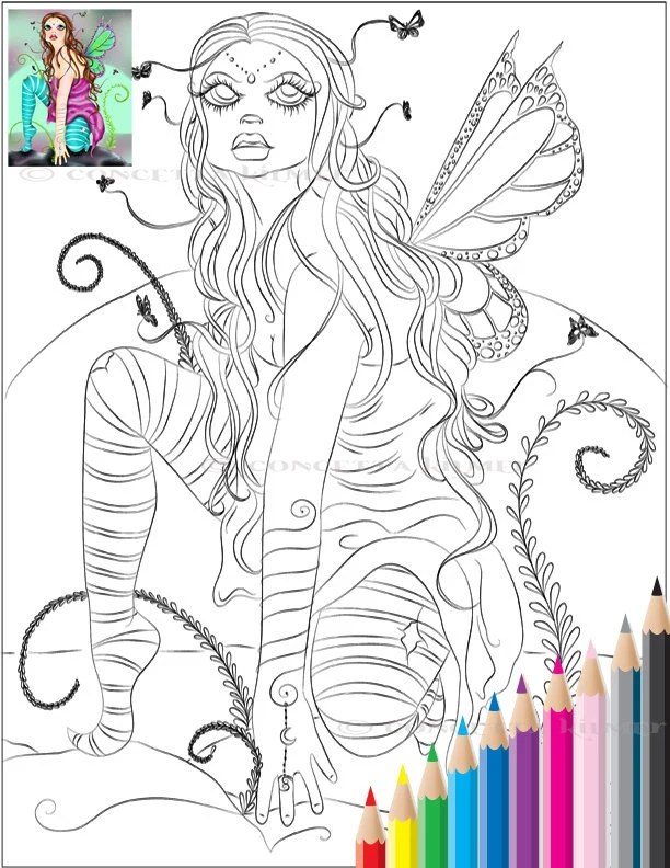 baby fairy colouring