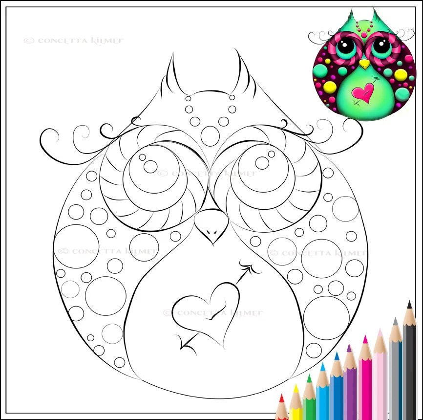 girly owl colouring pages
