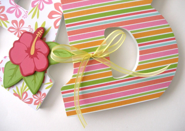 Custom Wood Letter Set Pink And Orange Nursery Hawaiian Baby