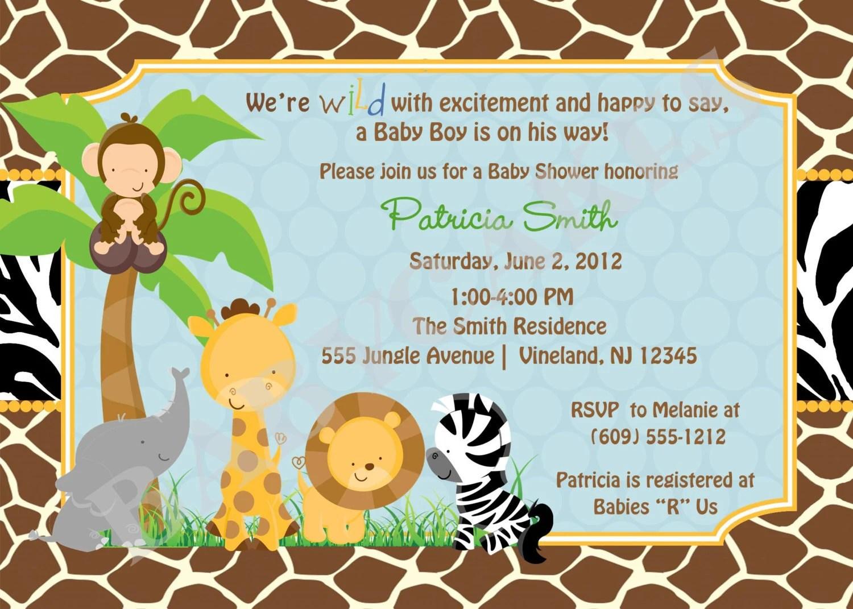 Safari Jungle Animals Baby Shower Invitationzoo By Jcbabycakes