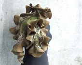 SALE... Woodland scarf, felted brown and green rustic wool OOAK, ready to ship,  spring country fashion - Baymut