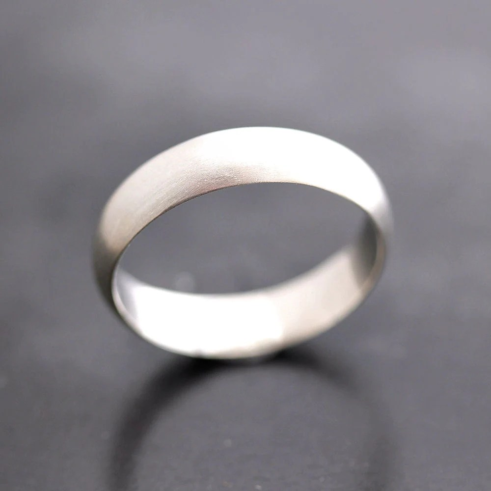 Mens Wedding Band Matte 5mm Half Round Brushed Unisex