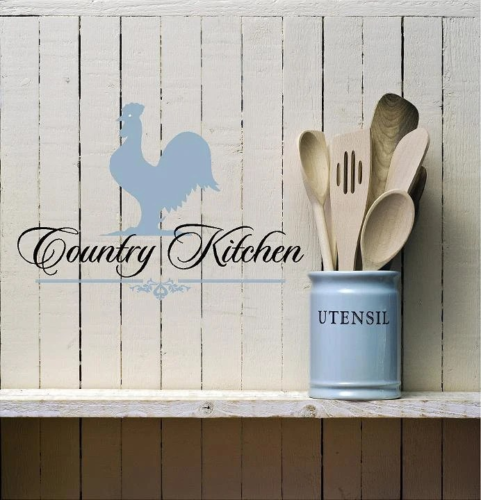 Country Kitchen Rooster Vinyl Lettering Wall Words Quotes