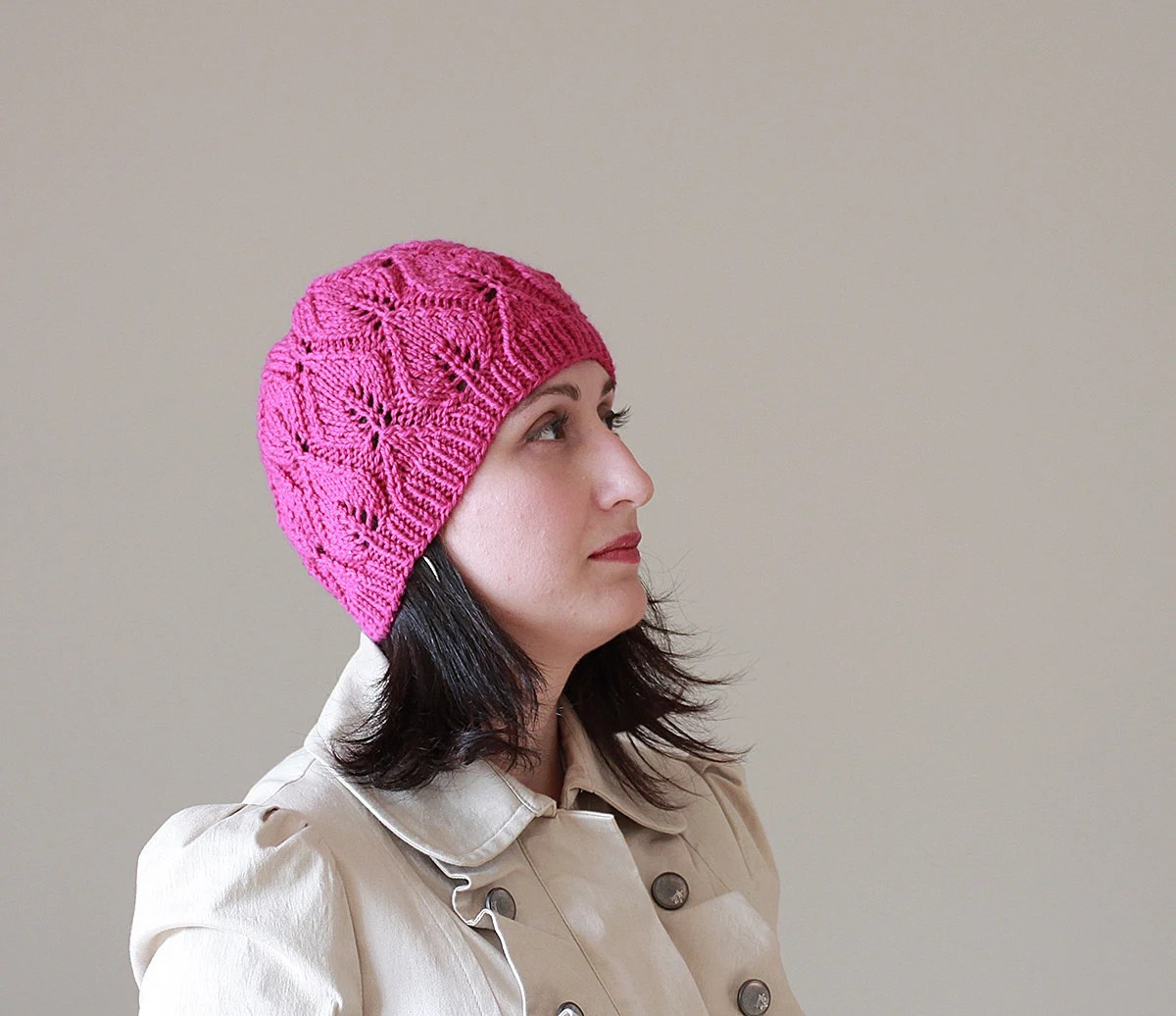 Knit Hat for Women - Orchid Rose pink color fashion - Adult knit beret, Handmade - SENNURSASA