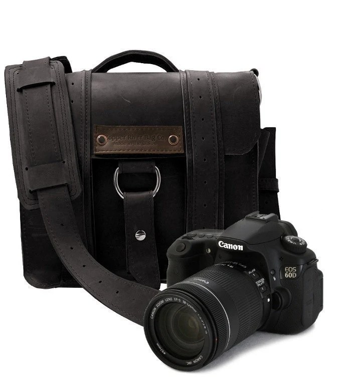 Safari Camera Bag - Black - Thick Full Grain Leather - Padded Camera Insert Divider - Padded Bottom - Made in the U.S.A. - Water Resistant