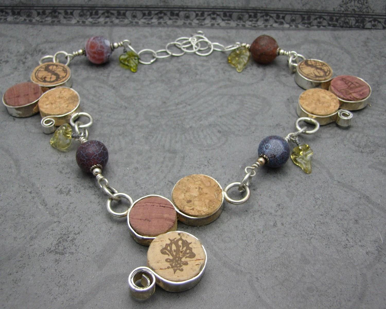 Sterling Silver Fine Wine Cork Necklace-RESERVED FOR ANGELA
