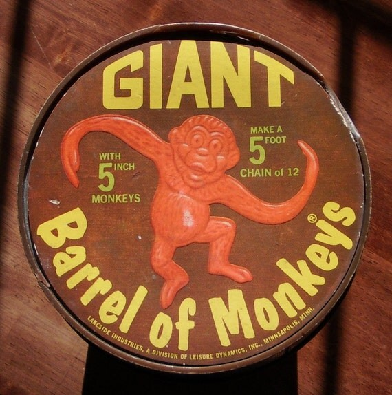 Vintage GIANT Barrel Of Monkeys 1966 Lakeside Toys By DollFood