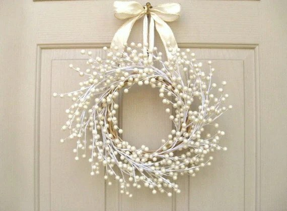 Door Wreath Wedding Wreath Pearl Berry Wreath For Front Door