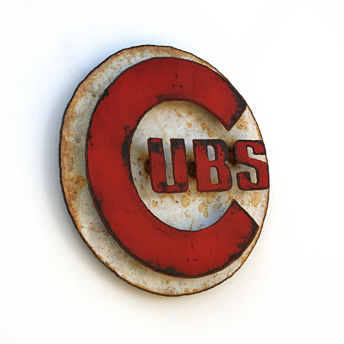 "Chicago CUBS wall art logo 12"" diameter - white and red with rust patina - indoor outdoor"