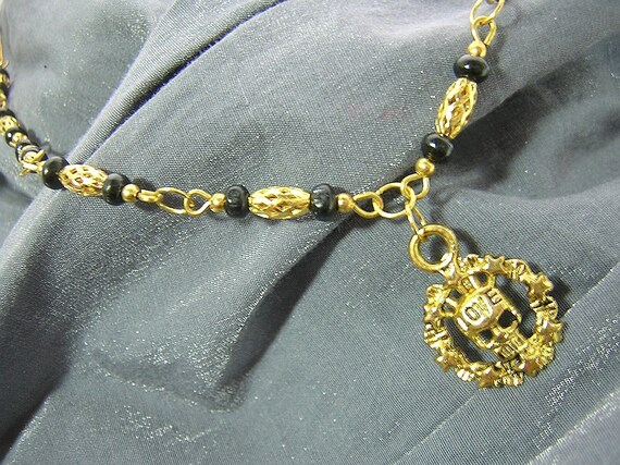 Geek Chic Golden Love Skull Gold & Black Beaded Necklace - Handmade by Rewondered D225N-00600 - $26.95