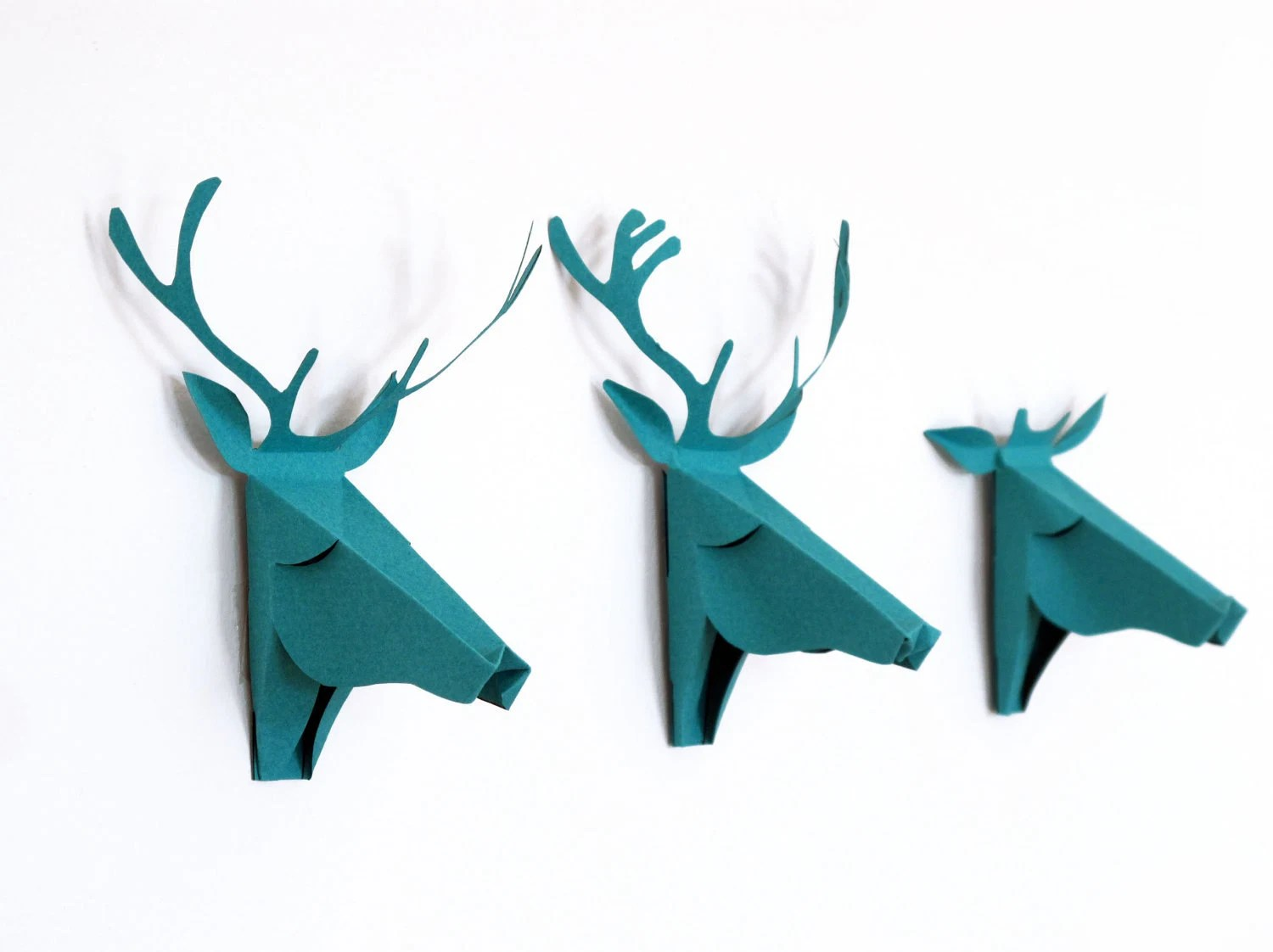 set of 3 faux deer head, faux taxidermy , greeting card, turquoise - FrenchMelody