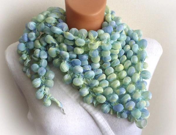 Bubble shibori triangle scarf,shawl,light blue and green,multicolor,fashion,woman - Accessories4women