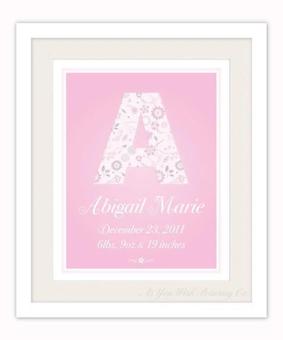 Personalized Monogram Birth Print, Pink Nursery Art - AsYouWishPrinting