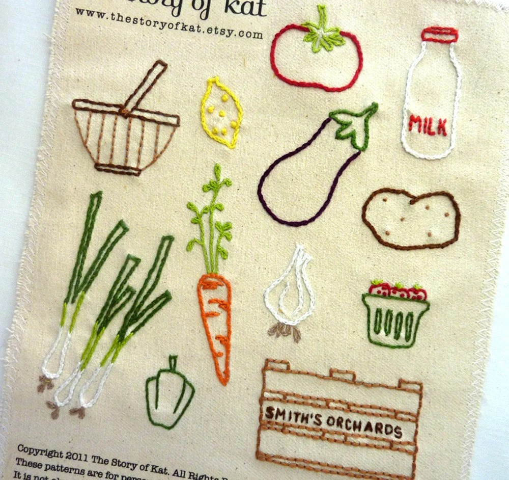 Farmers Market Embroidery Pattern