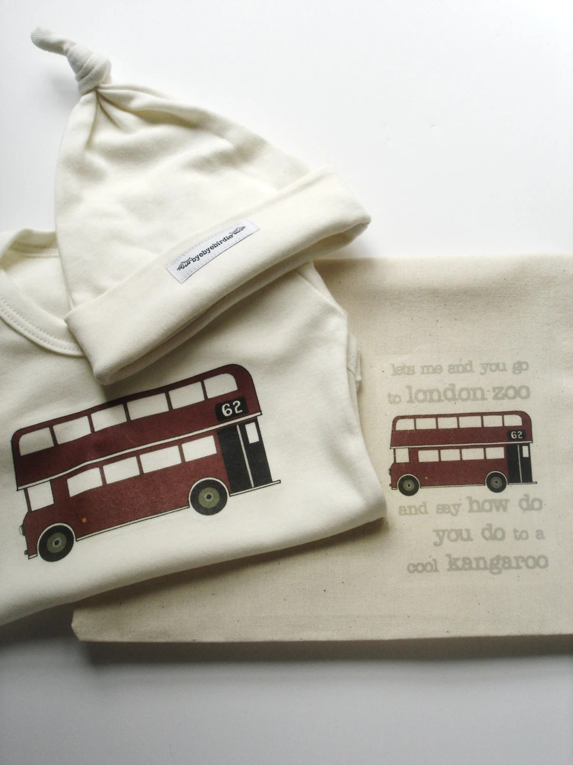 perfect olympics baby gift 'tiny bundle' 3 piece onesie, hat & bag - hand printed london bus