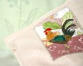 BREAD BAG, Storage Idea, Rooster Applique, Kitchen Decor, Soft Pastel - BozenaWojtaszek