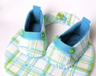 Boys Plaid Bootie and Bib Gift Set -  Aqua Blue Spring Green and White Hand Sewn Cotton Baby Shoes